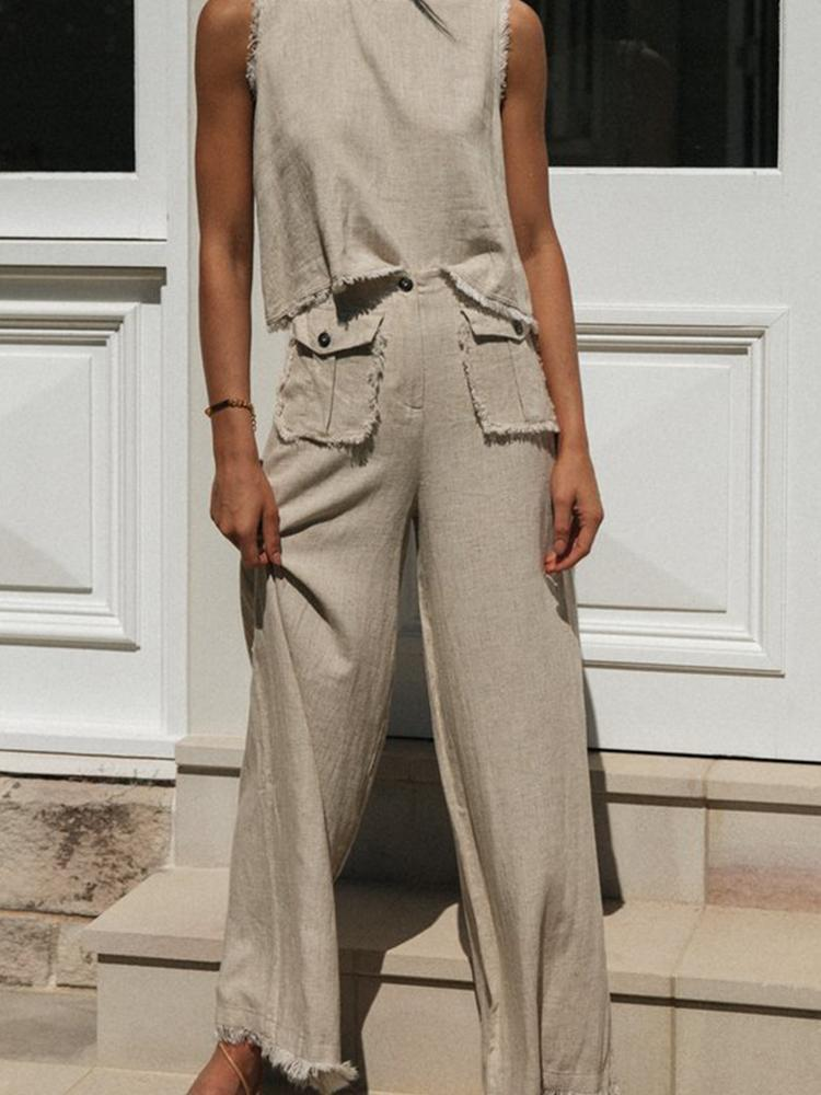 Round Neck Pocket Two-piece Suit