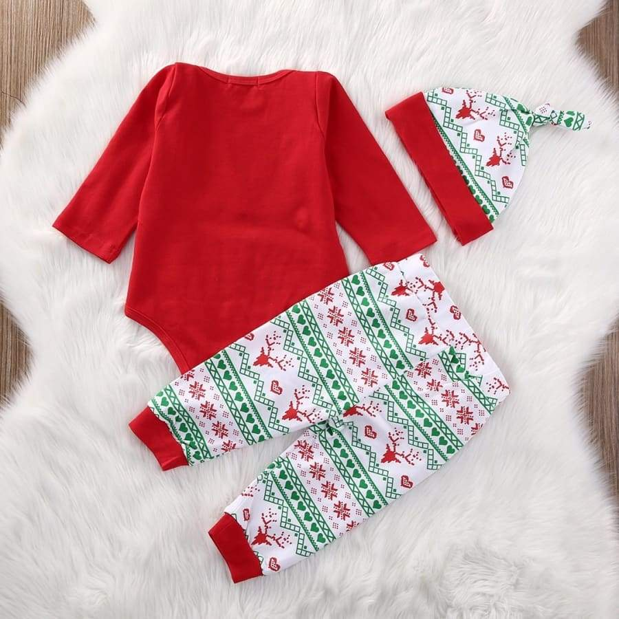 3Pcs Baby Girls Boys Clothes My 1st Christmas Rompers+Deer Printed Pants+Hat Outfit Pajama Sets for 0-24 months