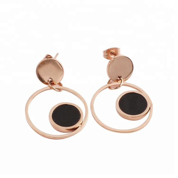 Wholesale fashion jewelry stainless steel rose gold earrings for women