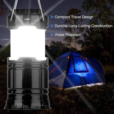3-in-1 Camping Lantern, Portable Outdoor LED Flame Lantern Flashlight
