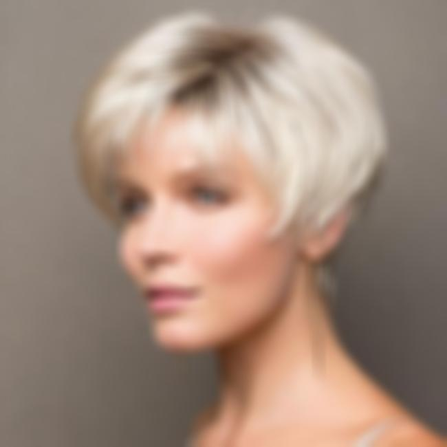KAMI 003 Short Straight Wig for White Women Affordable Pixie Spiky Razored-Top Blonde Hair