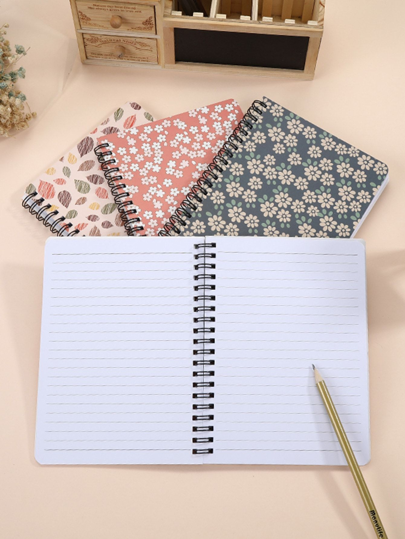 Floral Overlay Print Spiral Notebook 1pack