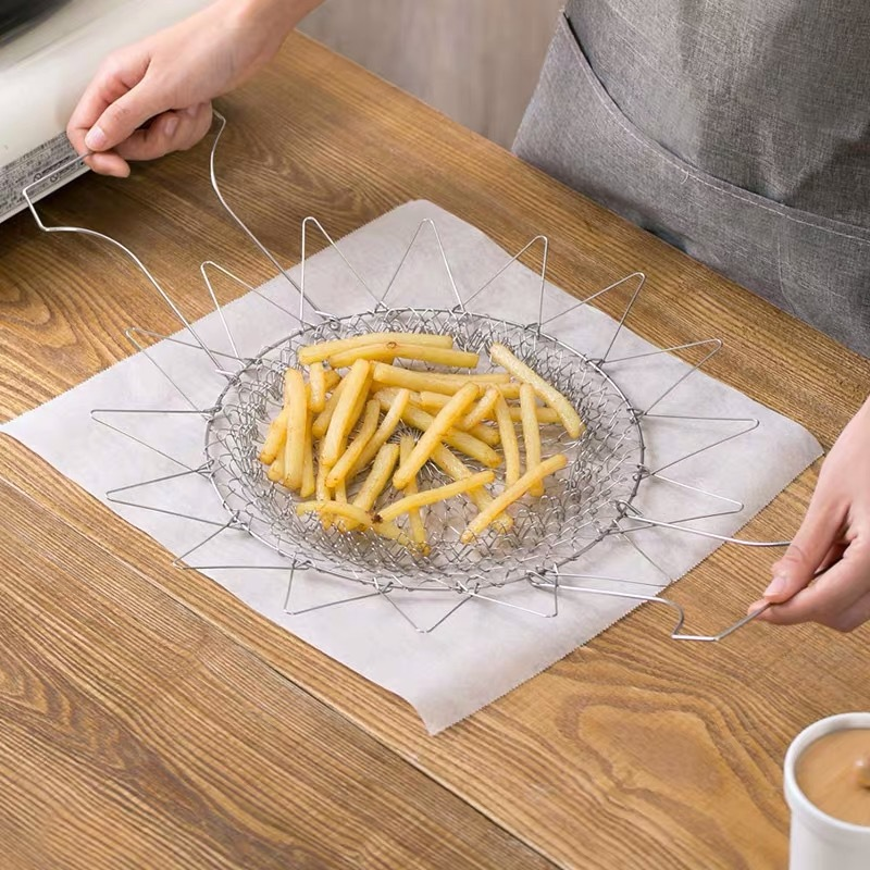 Kitchen multifunctional stainless steel frying basket