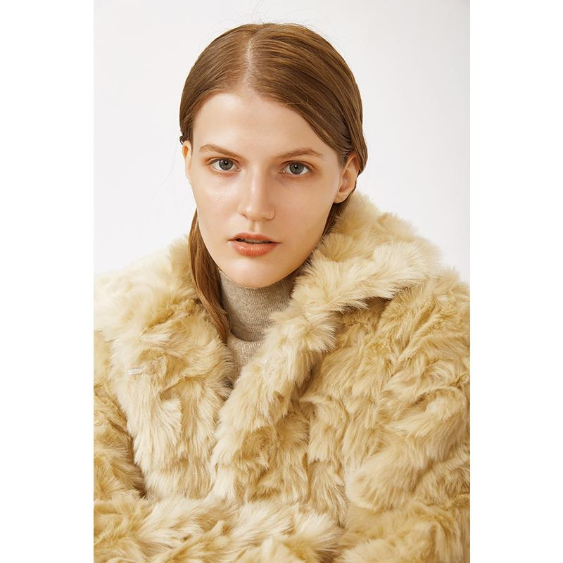 100%polyester soft casual fall and winter  turn down collar faux fur beige woman jacket-Casual Outwear 2.11