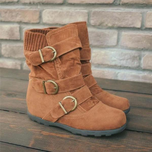 Women's Fashion Mid-Tube Cotton Boots Snow Boots
