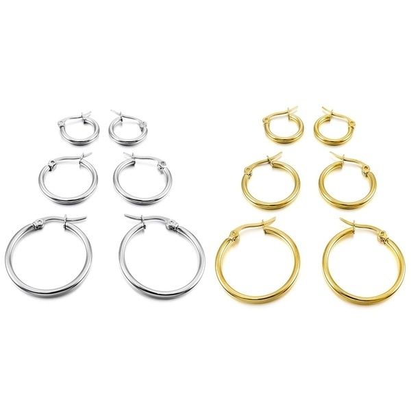 3 pairs 15mm 20mm 25mm Stainless Steel Hoop Huggies Earrings Set Woman Gold