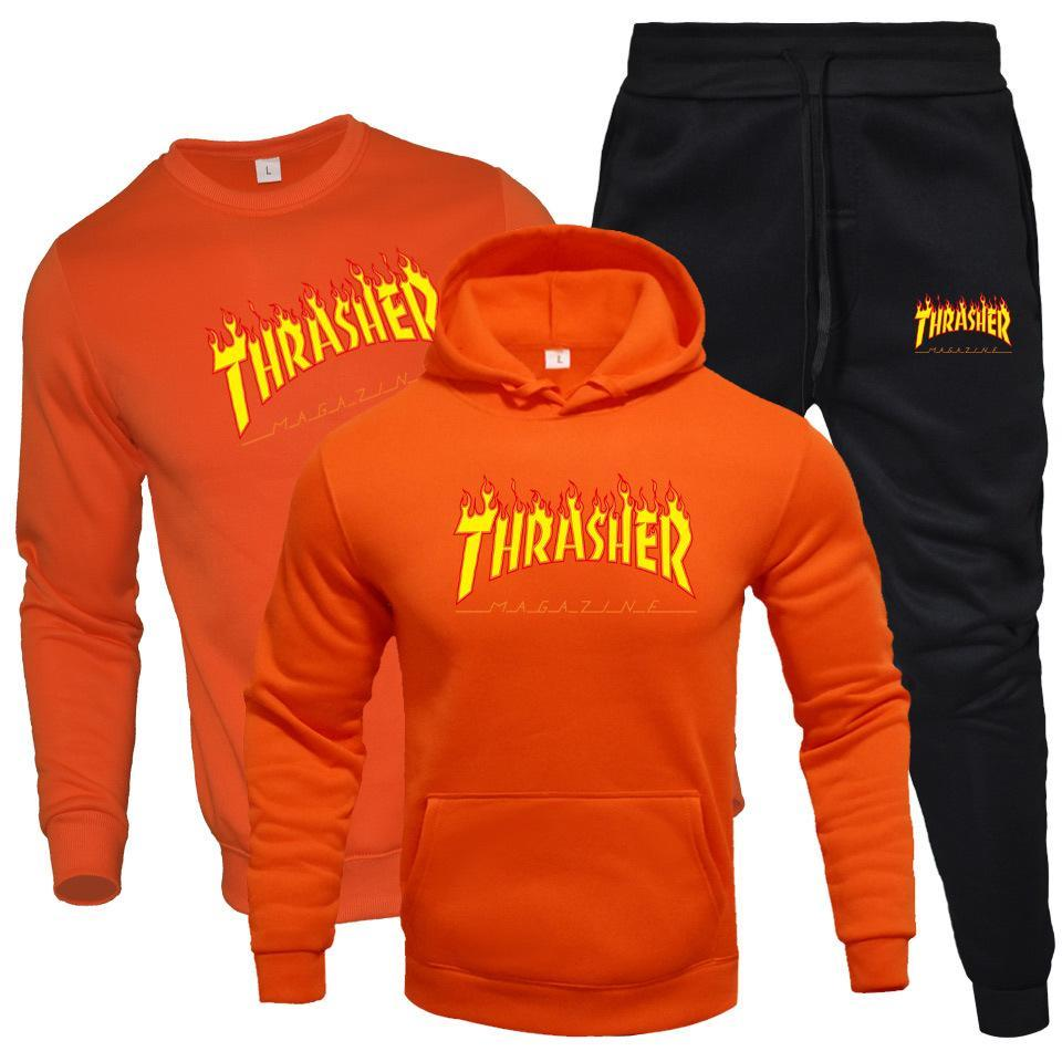 Thrasher Hoodie Sweatshirt Warm Hooded Sweater Women/Men Tracksuit Hoodies Pants