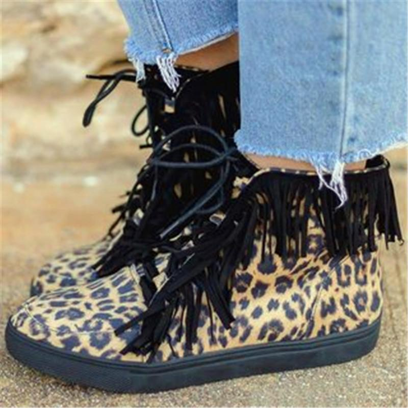 Women Spring Fall Short Casual Sneaker Color Block Leopard Lace Up Fringe Boots