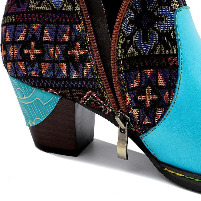 Women Country Style Retro Embroidered Short Boots