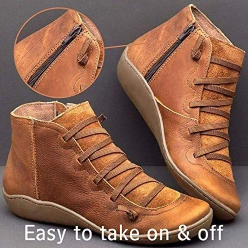 Super Hot Women's Medieval Vintage Leather Boots Braided Strap Flat Heel All Season Boots Waterproof Slip on Shoes Solid Color Round Toe Ankle Boots Short Boots
