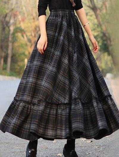 Stitched Large Plaid Skirt