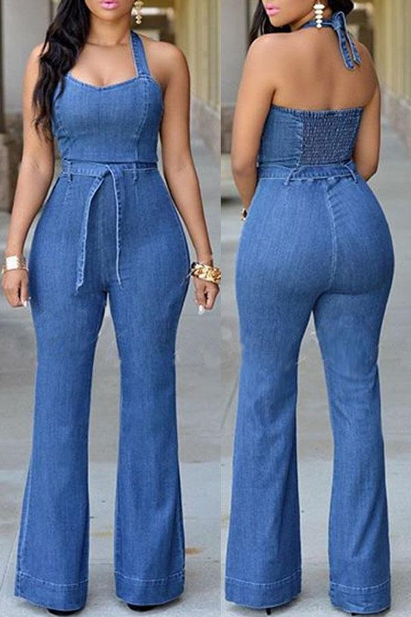 Slimming Casual Jumpsuit With Waistband