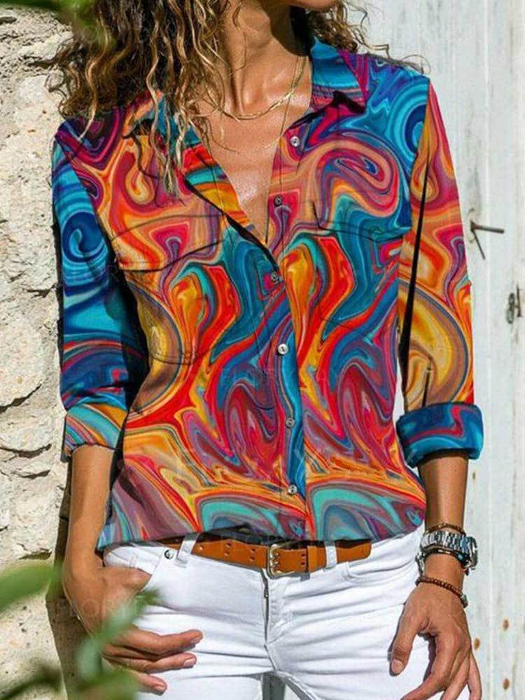 Women Casual Printed Abstract Blouse