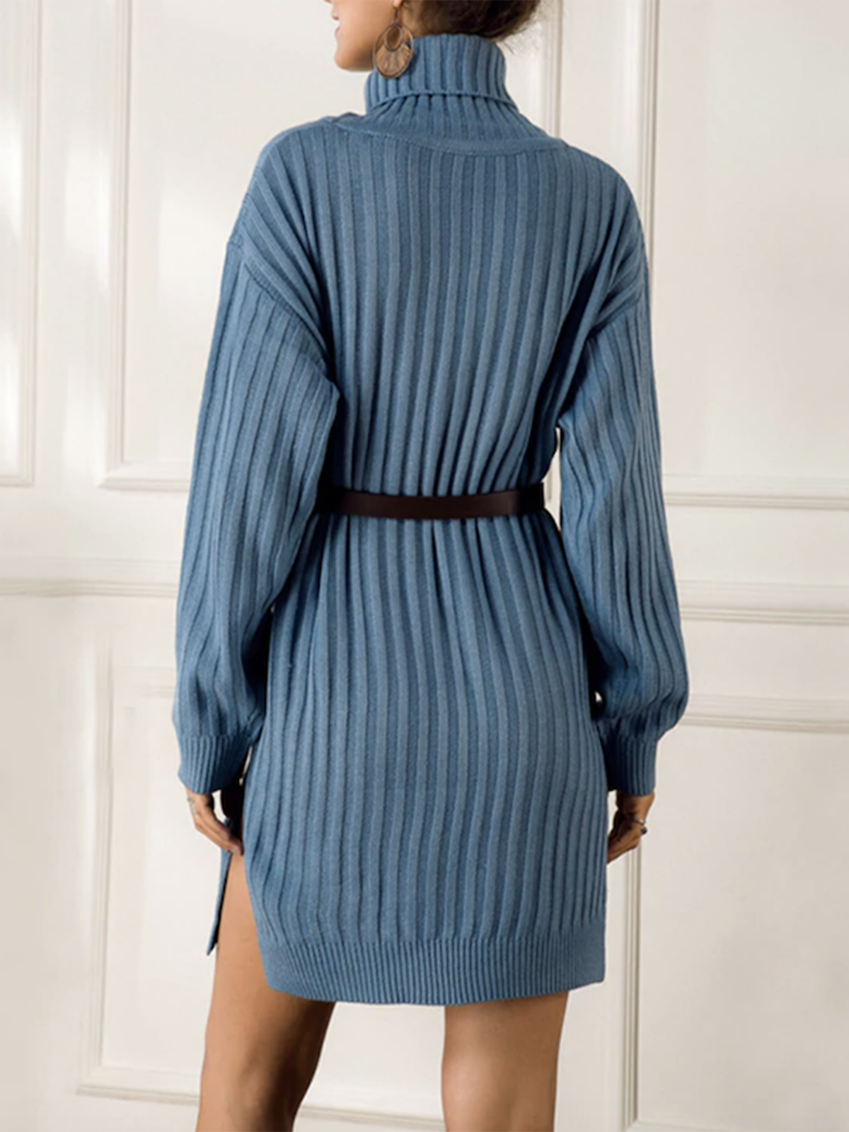Women's high neck knitted dress