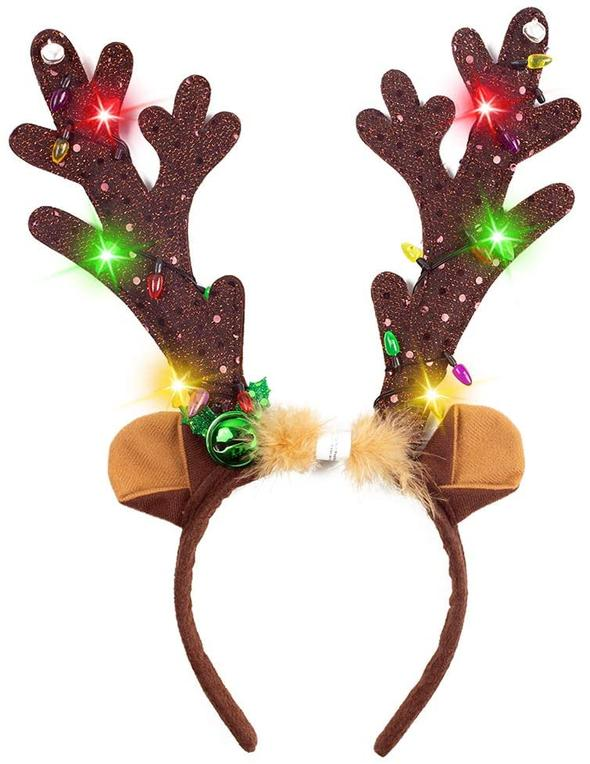 LED Antlers Headband with Bells - Light Up Christmas