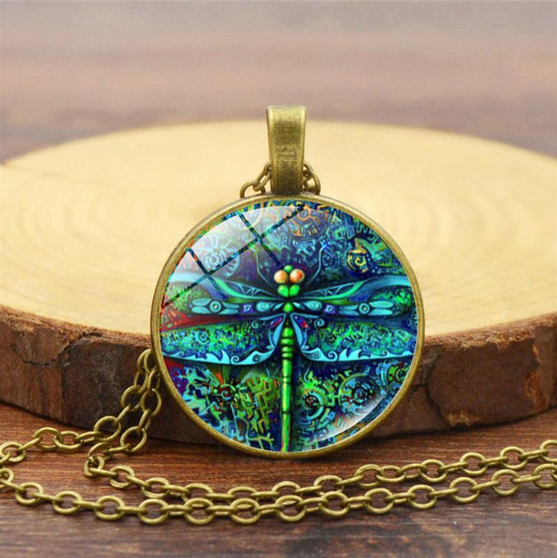 Blue Dragonfly Insect Garden Time Gem Pendant Necklace
