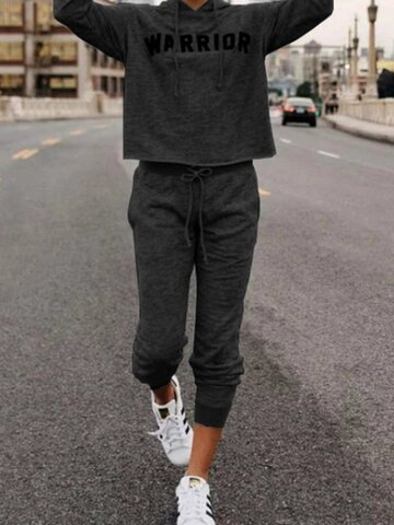 Letter Printed Hoodie Long Sleeve Two Pieces Suits
