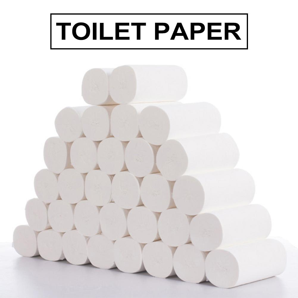 AHOME7 - (64 ROLL GET 60PCS SOAP PAPER FREE) 32 Rolls 4 Layers Thick Toilet Paper Bulk Wood Pulp Coreless Roll Paper