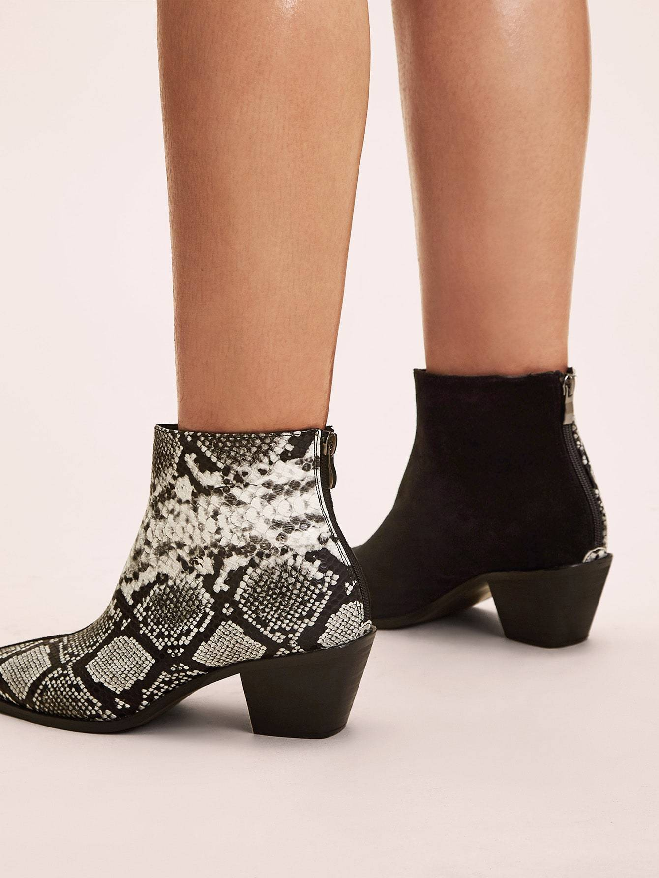 Contrast Snakeskin Print Chunky Boots