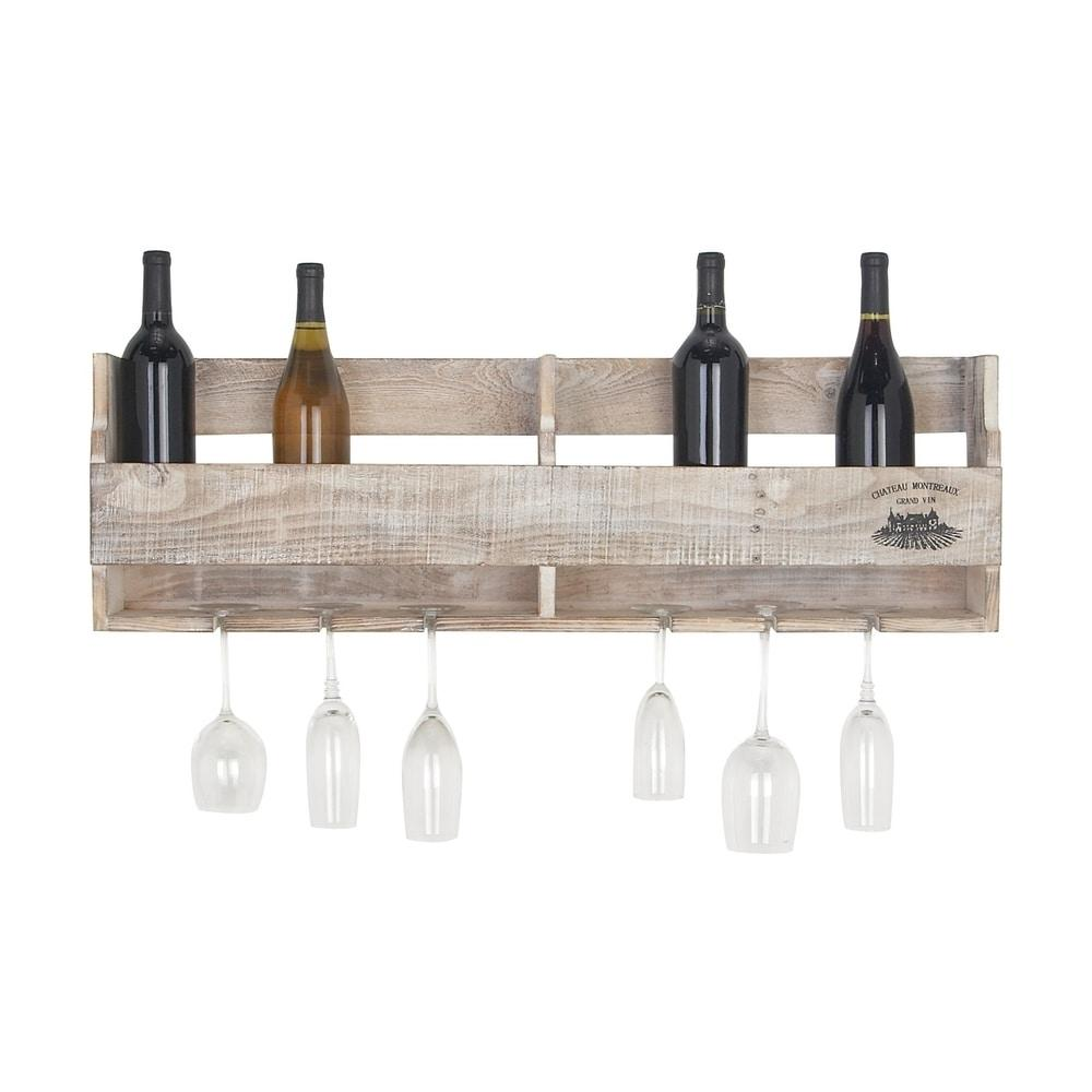 Traditional 11 x 36 Inch Whitewashed Wood Wine Holder by Studio 350