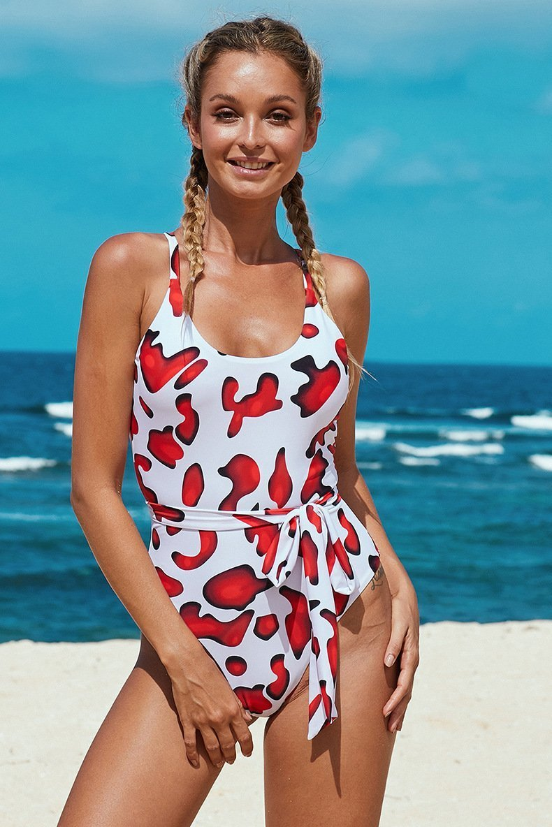 Boat Neck Criss Cross Bowknot Triangle One Piece Swimsuit