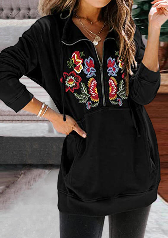 Floral embroidery zipper stand collar sweatshirt