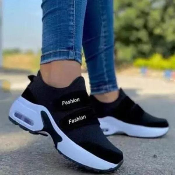 Zoeyootd Comfortable Flying Woven Velcro Air Cushion Sneakers