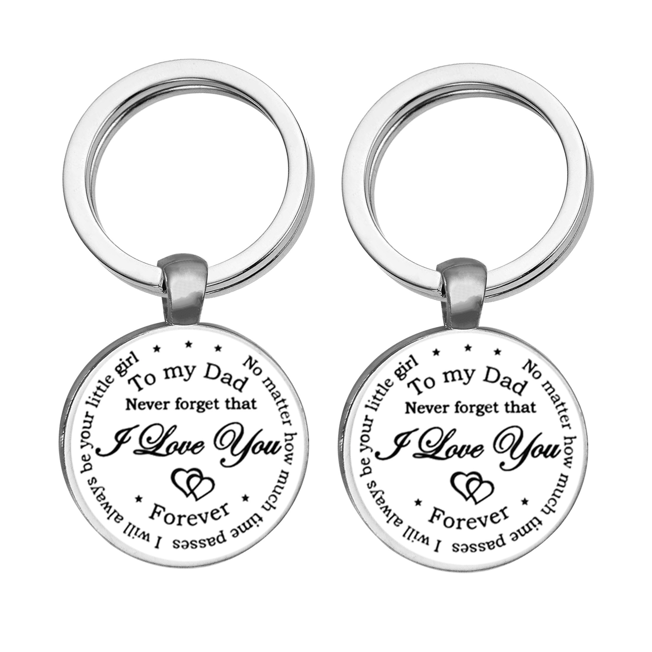 2019 To My Dad Never Forget That I Love You... Classic Minimalist New Round Keychain, Handmade Glass Key Ring Accessories, Birthday Gift for Dad, Car Keychain Accessories