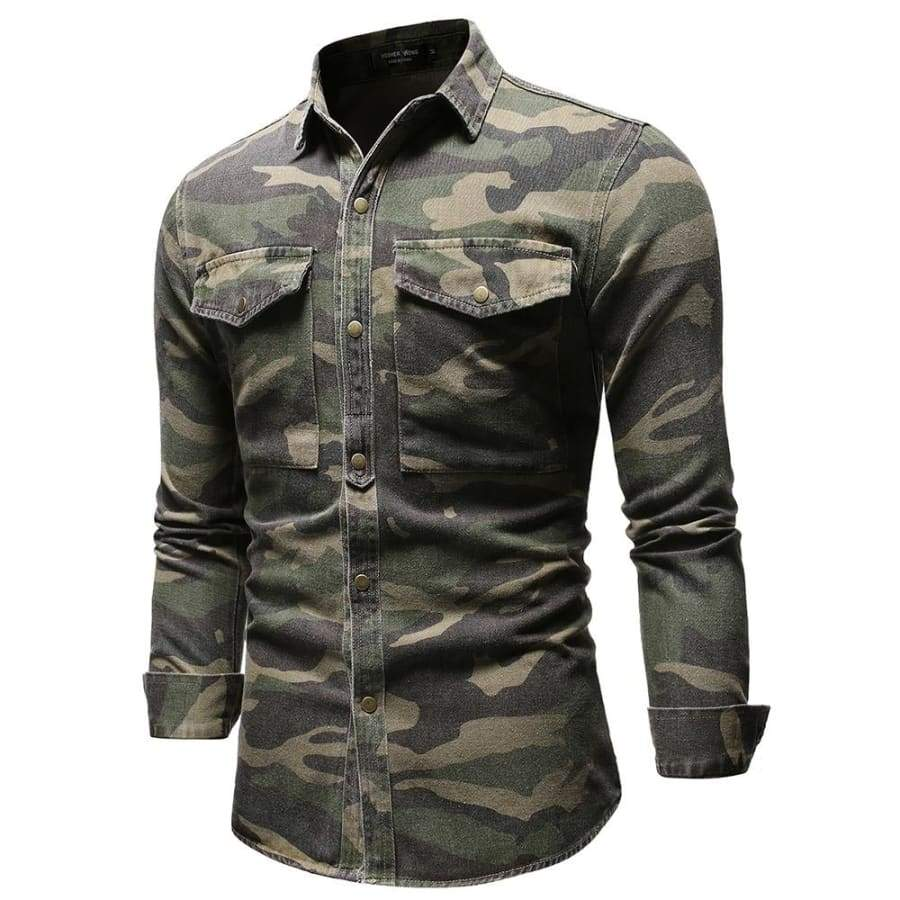 Men's Denim Hunk Snap Long Sleeve Western Camouflage Shirt