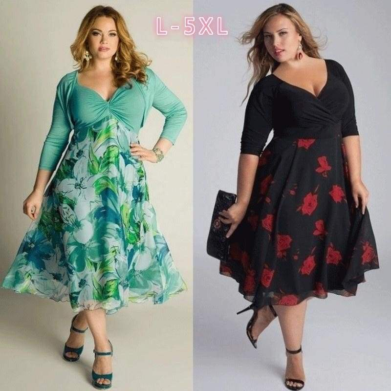 6 Colors Women Floral Print Dress Plus Size 3/4 Sleeves Party Dress M-XXXXXL