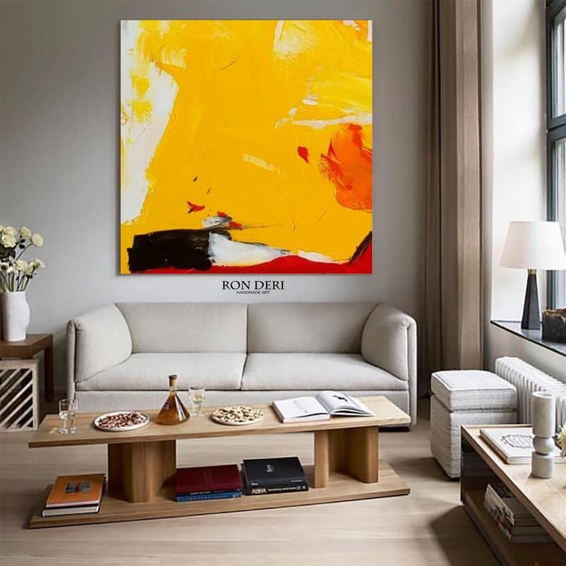 Large Abstract Art Painting on Canvas, Acrylic Painting, Red Yellow Blue Abstract Painting