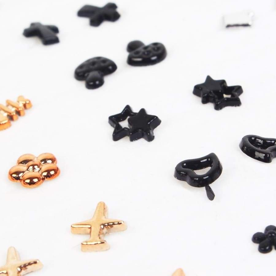 36 Pairs Women Acrylic Crystal Cross Small Stud Earrings Sets Girl Child Gold Black Heart Star Moon Crown Earring Jewelry Gift