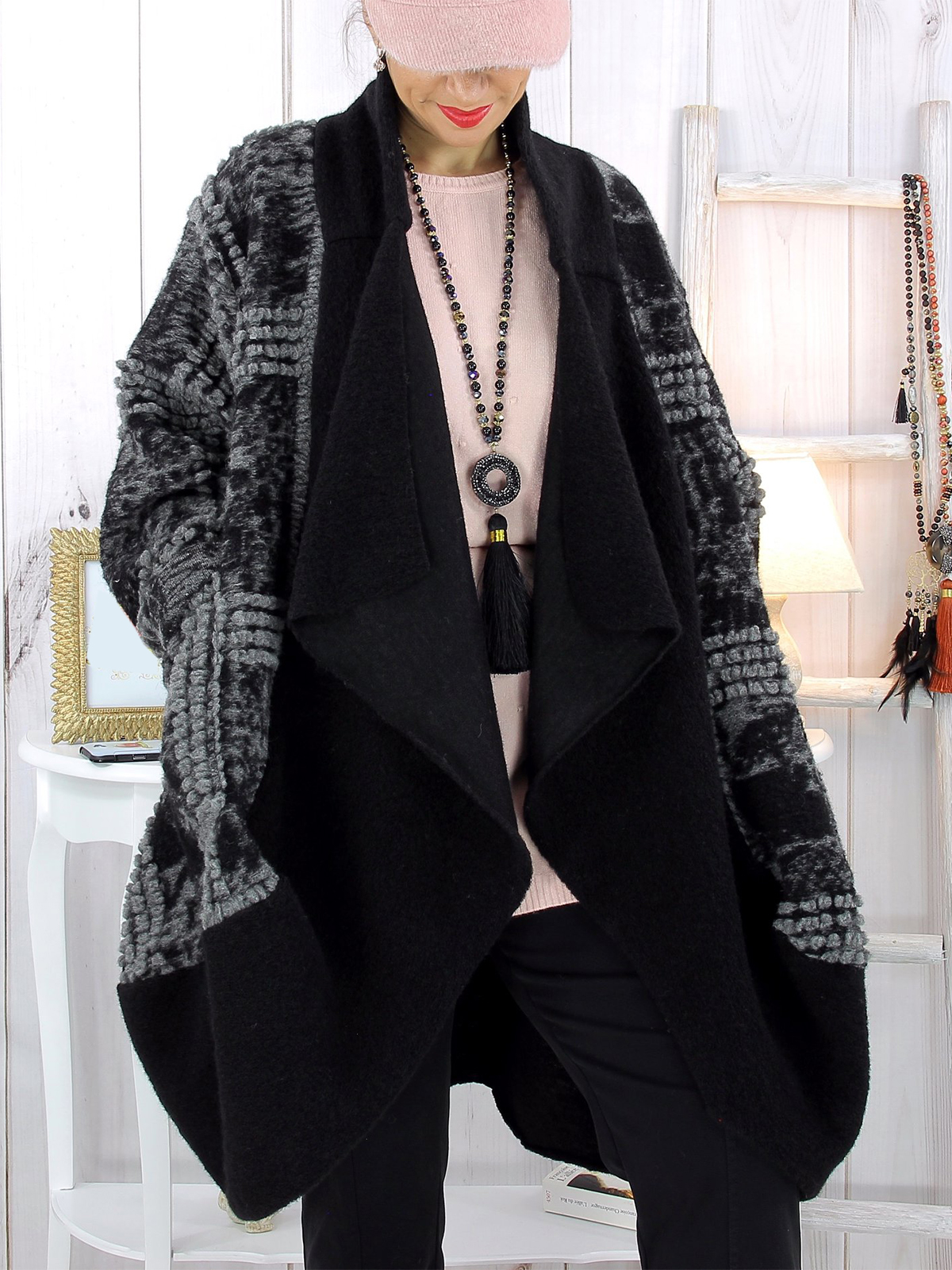 Casual Cotton,Polyester Long Sleeve Colorblock with Overcoat(Plus Size)