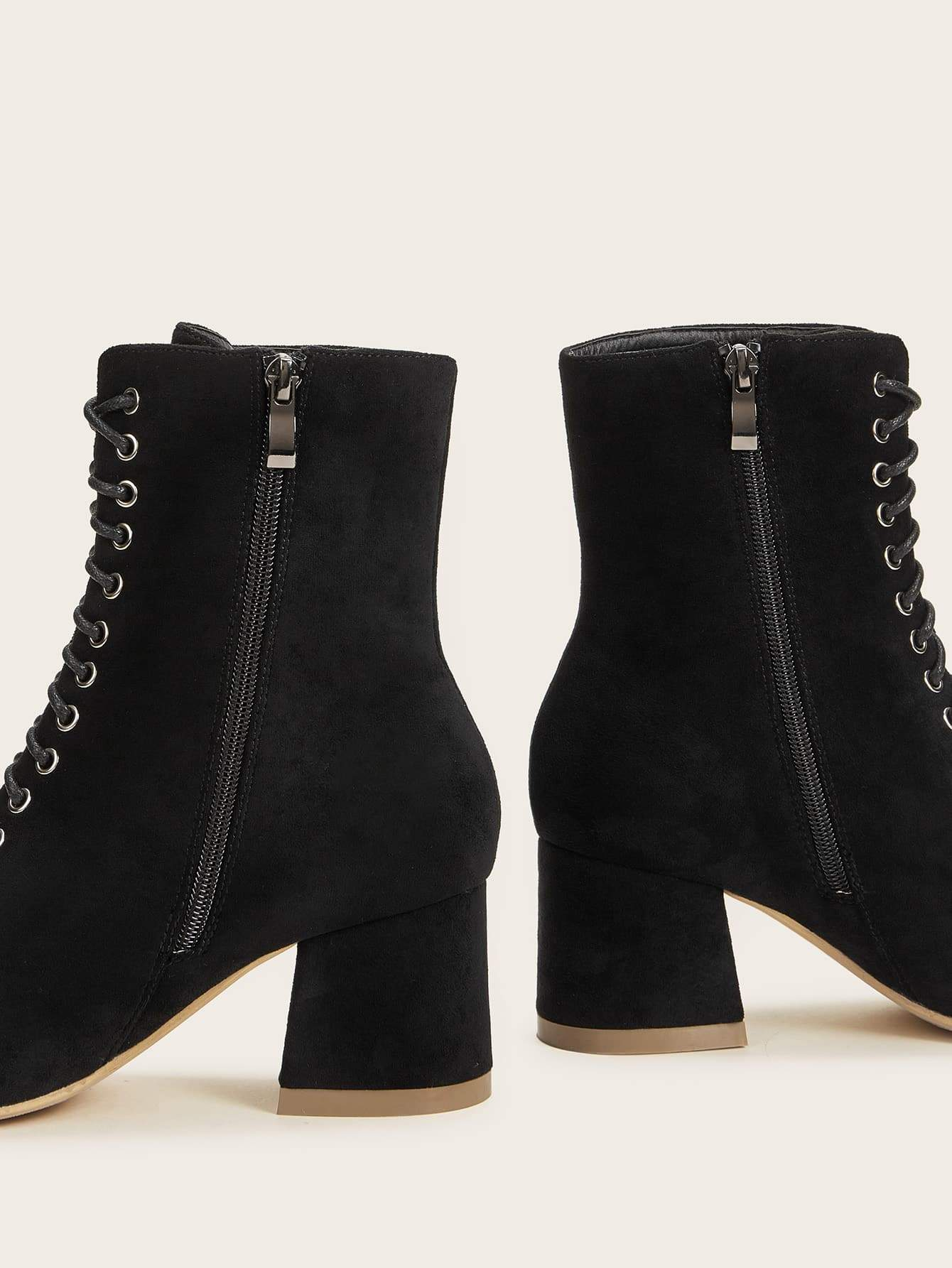 Lace-up Front Side Zip Chunky Boots