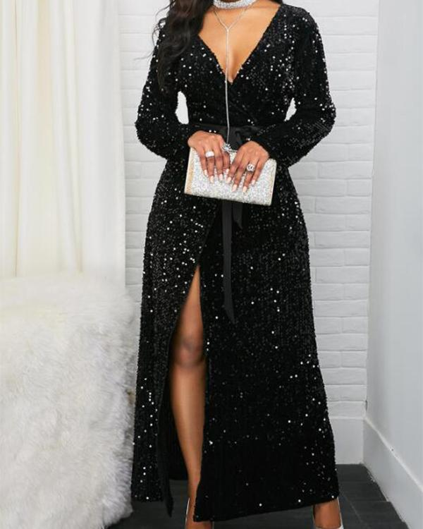 Front Slit Long Sleeve Belted Sequin Dress