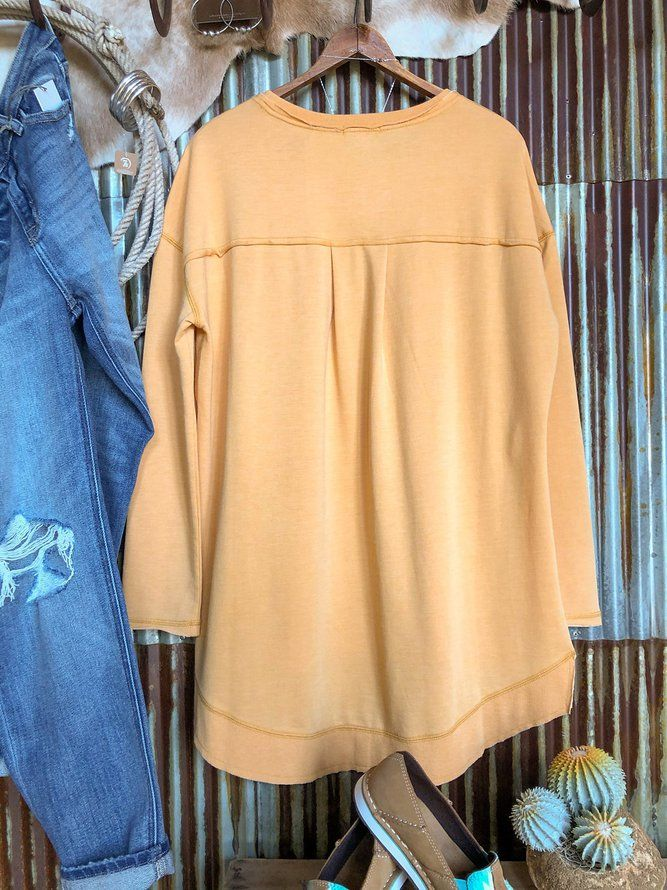 Yellow Long Sleeve Plain Casual Shirts & Tops | Tops | Mondadays Long Sleeve 1 Yellow Women Tops Casual Cotton-Blend Crew Neck Tops | mondadays