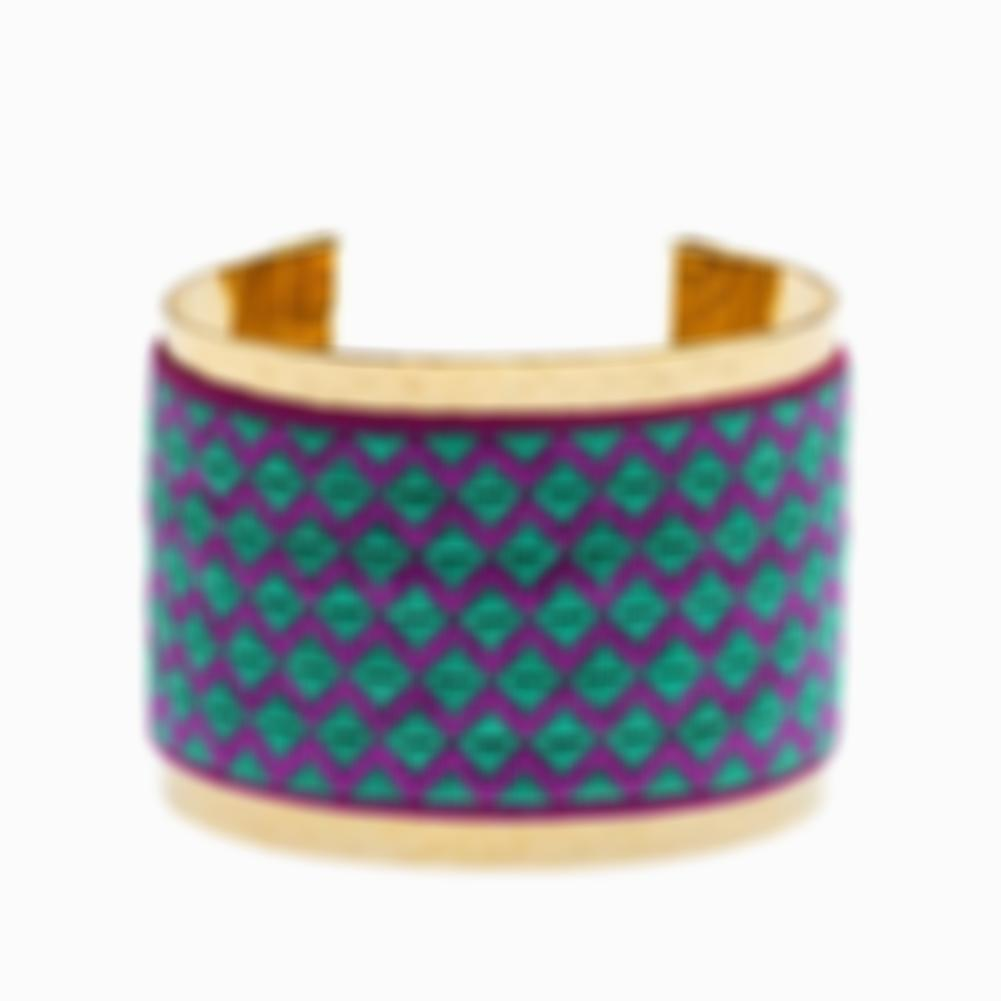 Gold Cuff with Emerald and Magenta Embroidery