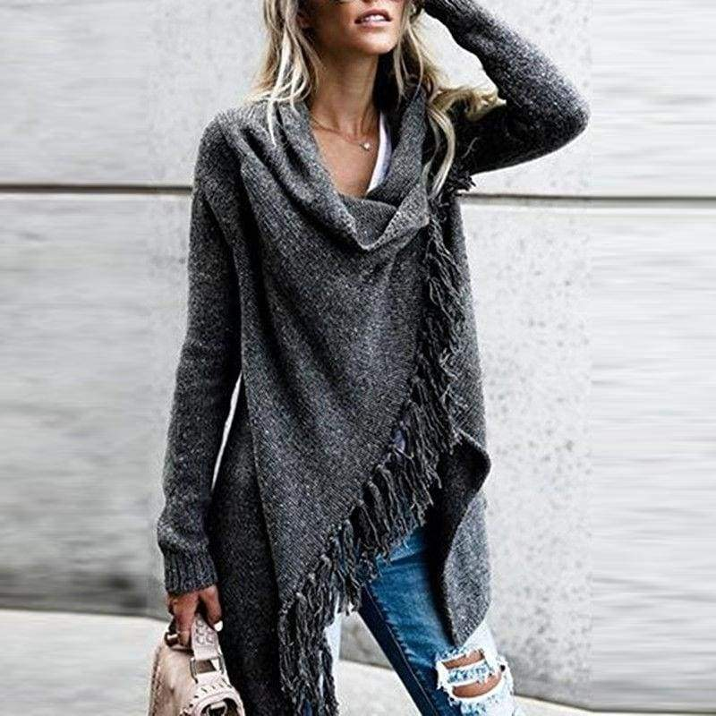 New Ladies Fashion Casual Loose Knitted Tassel Sweater Tops Knitwear Womens Long Sleeve Jumper Sweater Cardigan