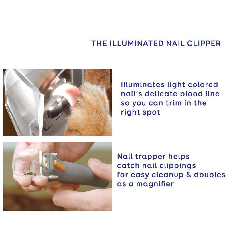 LED Illuminated Dog Cat Nail Clipper 5X Magnification for Pet