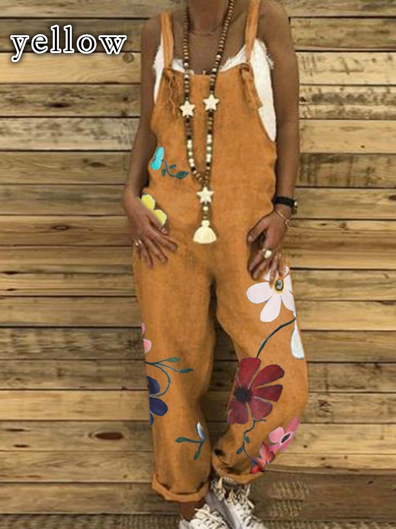 Women's Boho Loose Casual Jumpsuit Wide Leg Drop Crotch Rompers Floral Printed Baggy Overalls Bib Pants Plus Size