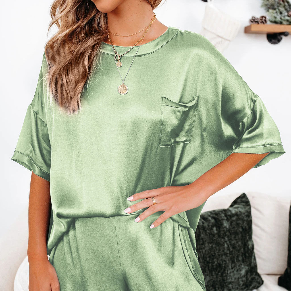 2-piece solid color smooth 1/2 sleeve top + shorts loungewear