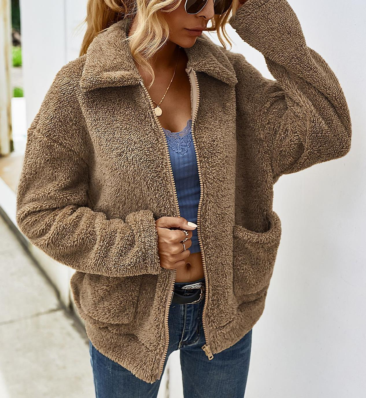 Zipper Shearling Long Sleeve with Jacket
