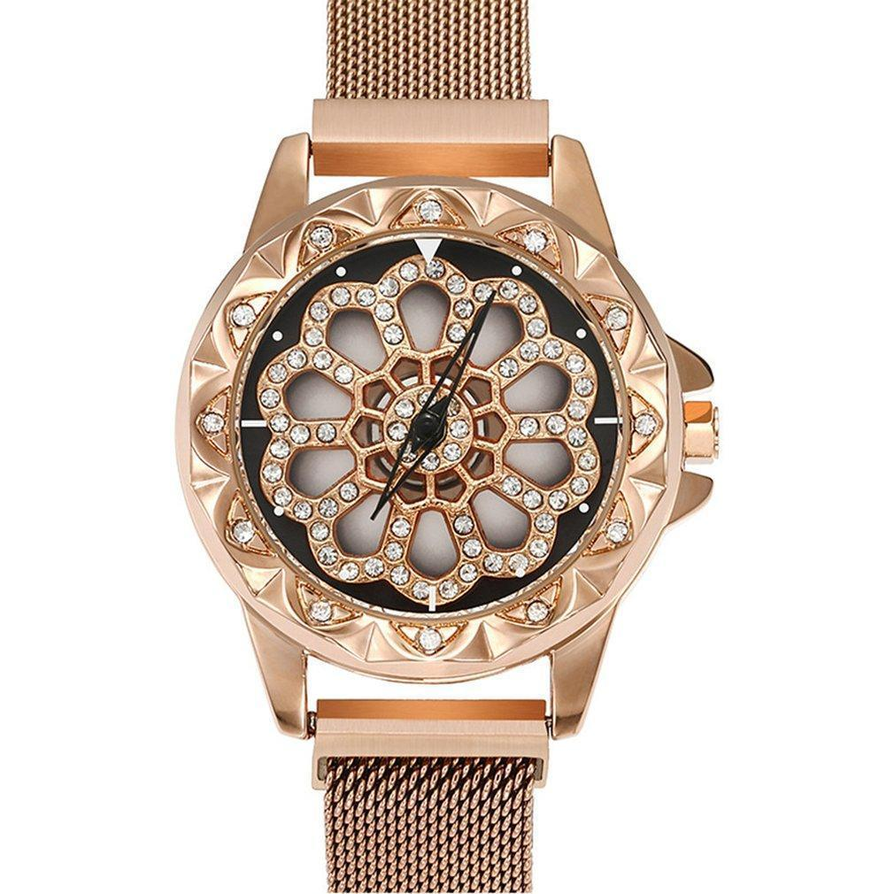 Magnetic Watches Rotate Flower Crystal Women Luxury Magnet Watch