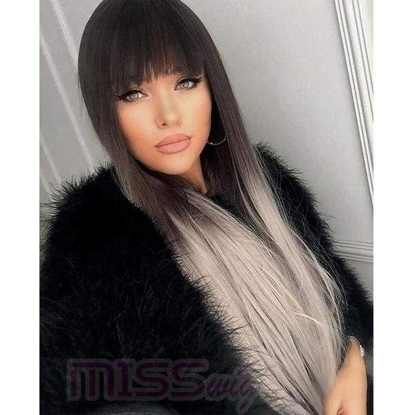 Grey Ombre Wig Dark Brown Long Straight Synthetic Wig Heat Resistant Fiber Wig(Size:26inch)