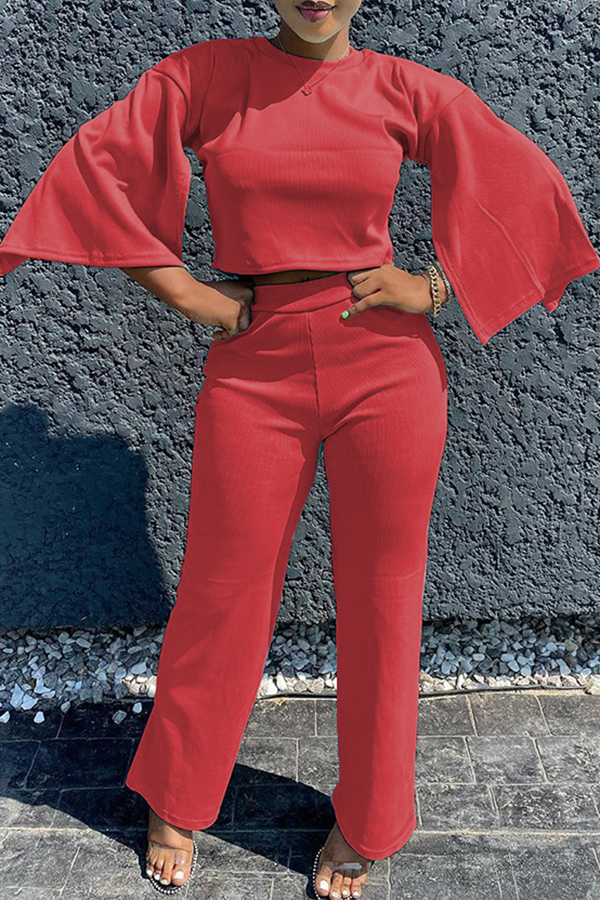 Solid Color Flared Sleeve Two-piece Set