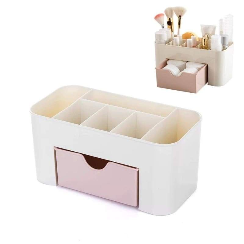 Space Saving Plastic Home Supplies Desk Organizers, 6 Cells Pen Holder /Cell Phone Holder/Cosmetic Holder with 1/2 Drawers (Green/Pink/Blue)