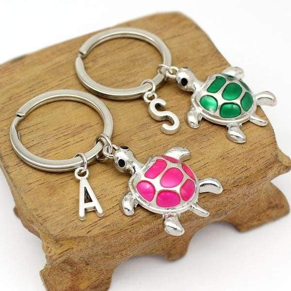 Cute Drop Oil Turtle Keychain, Tortoise Keychains, Sea Turtle Gift, Personalized Initial Keychain, Jewelry Keyring
