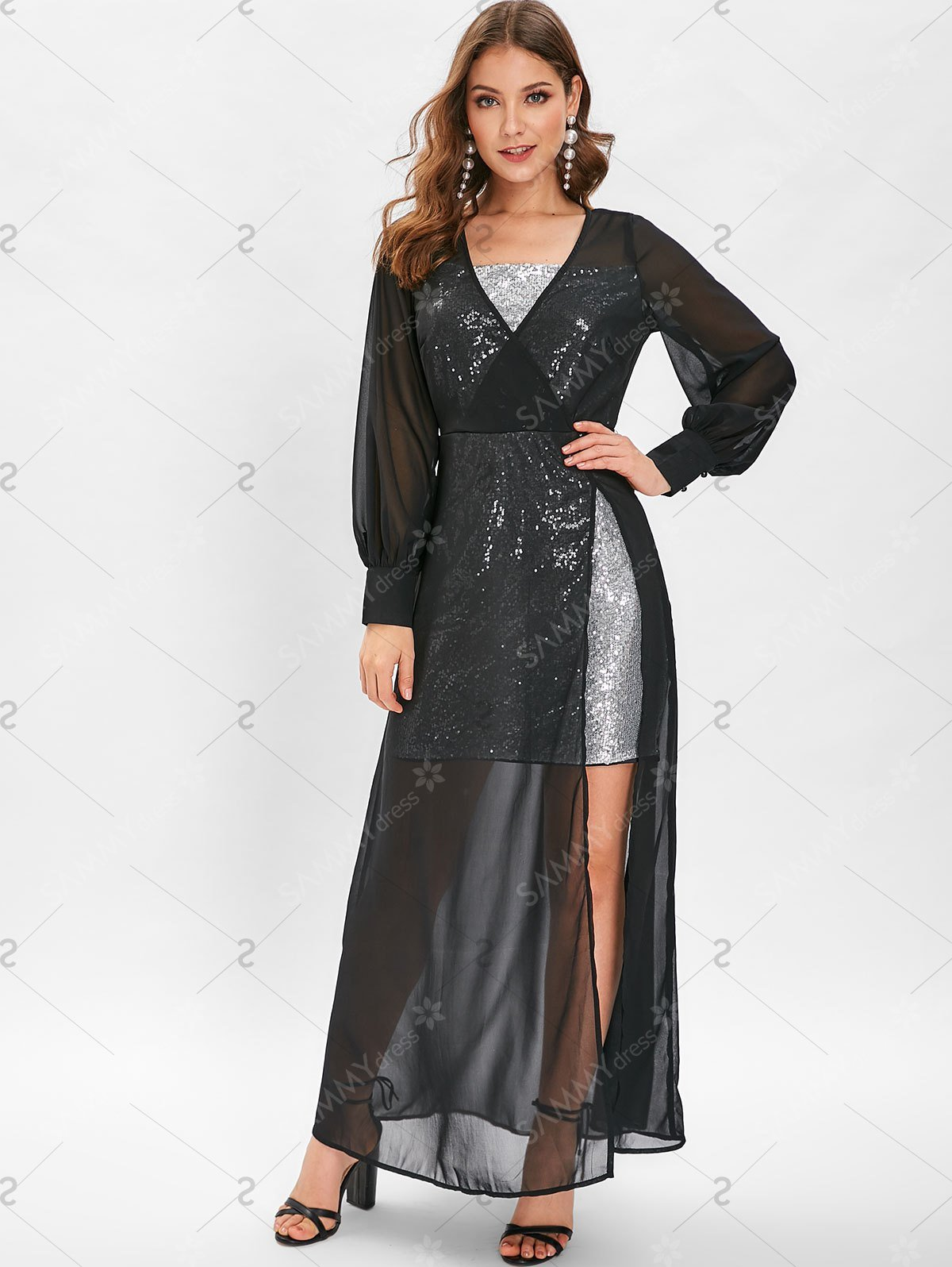 Sequin High Slit See Through Maxi Dress - Black - 2xl