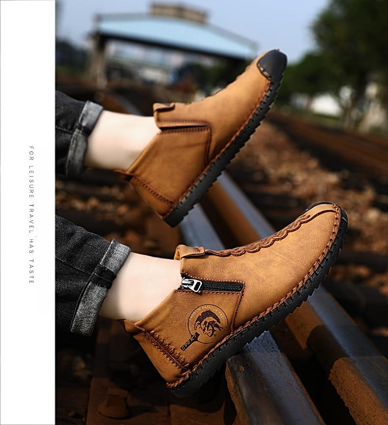 Mens slip on short leather boots with zippers casual shoes for men moccasins shoes