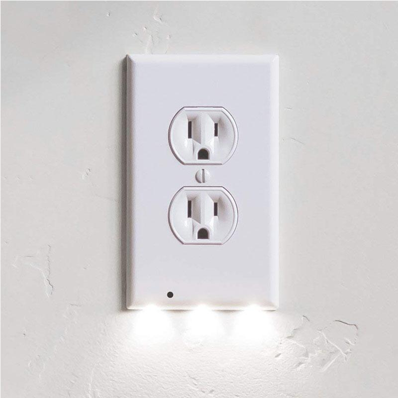 Radiant Screwless Outlet Cover Wall Plate with LED Night Light